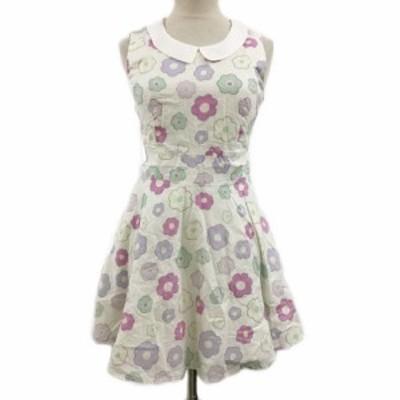 【中古】メリージェニー ワンピース フレア ミニ チュール 花柄 ノースリーブ M 白 ピンク ホワイト レディース