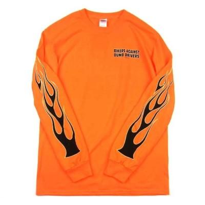 HOT LEATHERS ホットレザー FLAME L/S TEE フレイム ロング スリーブ Tシャツ ロンT プリントT 袖プリント オレンジ メンズ レディース