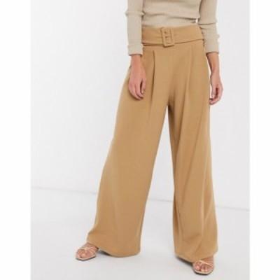 エイソス ASOS DESIGN レディース ボトムス・パンツ ワイドパンツ structured pleat wide leg trouser with belt in twill キャメル