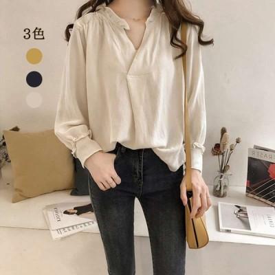 シャツレディース韓国大きめ女長袖TシャツVネックシャツトップスゆったり棉麻インナートップス袖上品おしゃれ40代30代