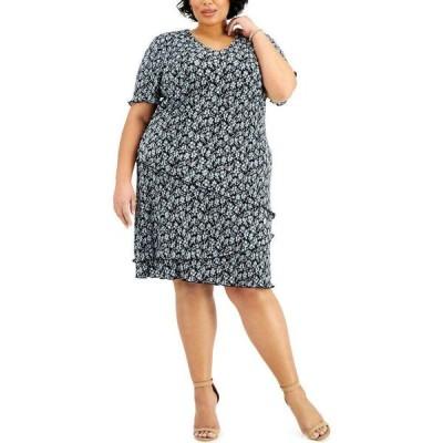 コネクテッド Connected レディース ワンピース 大きいサイズ Aライン ワンピース・ドレス Plus Size Floral-Print Pleated Tiered Dress Aqua