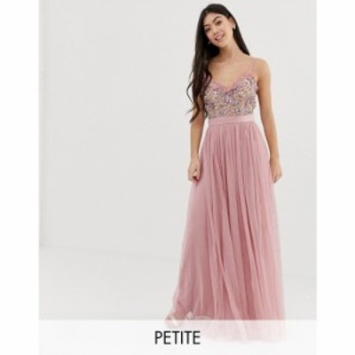 マヤ Maya Petite レディース ワンピース キャミワンピ cami strap contrast embellished top tulle detail maxi dress in vintage rose