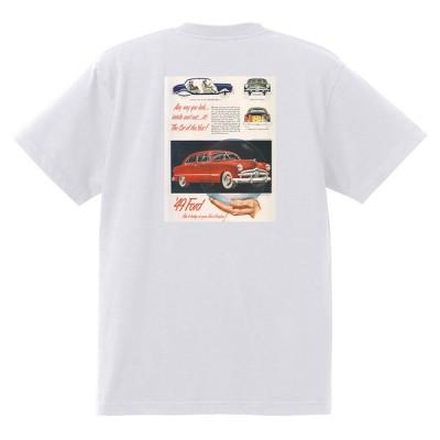 アドバタイジング フォード Tシャツ 白 1070 黒地へ変更可 1949 ビクトリア クレストライナー シューボックス f1 ホットロッド ロカビリー