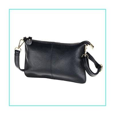 【新品】SEALINF Women's Cowhide Leather Clutch Handbag Small Shoulder Bag Purse (black)(並行輸入品)