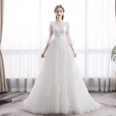 ウエディングドレス ウェディングドレス 花嫁 結婚式 aライン 白 レース ボレル 安い パーティードレス 二次会 ブライダル ロングドレス イブニングドレス