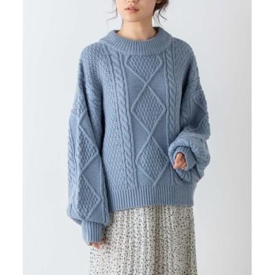 ニット WEGO/だぼ袖ケーブルセーター