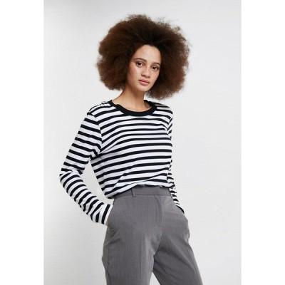 セレクテッドフェム カットソー レディース トップス SLFSTANDARD TEE  - Long sleeved top - black/bright white