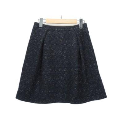 【中古】ロペ ROPE スカート ラメ ツイード タック ウール 38 紺 ネイビー レディース 【ベクトル 古着】
