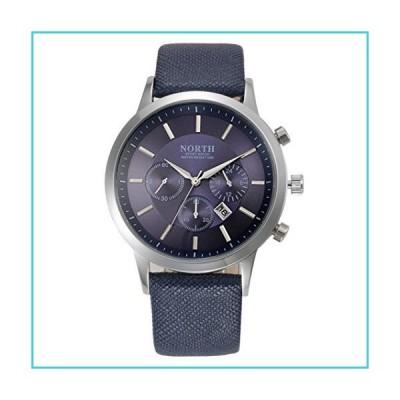 North Sports Luxury Mens Genuine Leather Band Analog Quartz Watches Business Calendar Wrist Watch Black (Blue)【並行輸入品】