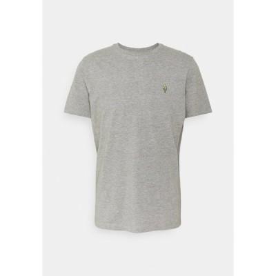 セレクテッドオム Tシャツ メンズ トップス SLHJUDE O NECK TEE - Print T-shirt - grey melange