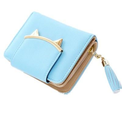 レディース 財布 二つ折り 猫 モチーフ パステル カラー 小銭 収納 通勤 OL