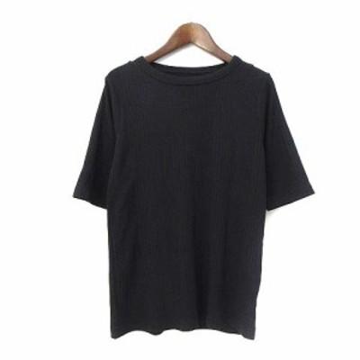 【中古】MILLE GOUTS Tシャツ M 黒 ブラック ポリエステル 五分袖 無地 シンプル リブ レディース