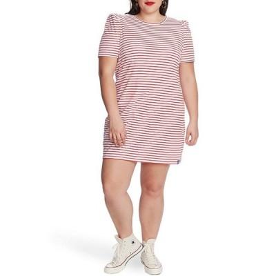 コート&ロー レディース ワンピース トップス Plus Size Puff Sleeve Striped Knit Cotton Shift Dress