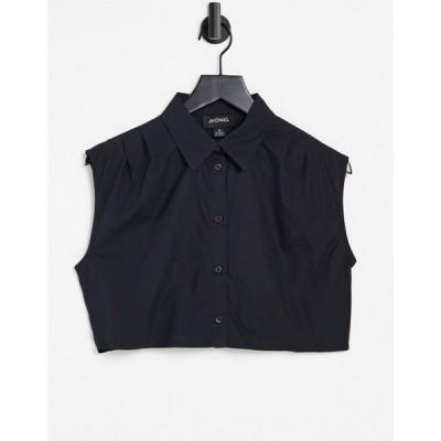 モンキ レディース シャツ トップス Monki Jessie organic cotton sleeveless cropped shirt in black