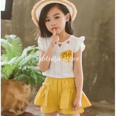 韓国こども服 セットアップ 子供服 上下 2点セット半袖Tシャツ トップス パンツ カジュアルパンツ サルエル 女の子 可愛いスタイル シンプル Tシャツ+パンツ