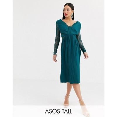 エイソス ASOS Tall レディース ワンピース ミドル丈 ワンピース・ドレス ASOS DESIGN Tall lace and pleat long sleeve midi dress ティールグリーン