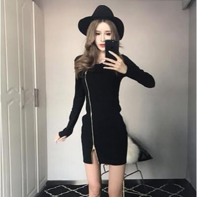 新作 春夏 レディース セクシー ワンピ タイト 胸元 ショート 夜店 長袖 パーティードレス 大人 韓国 ファッション ジッパー ワンピ