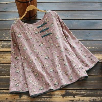 シャツ ブラウス レディース 春秋 きれいめ 40代 大きいサイズ 綿麻 花柄 チャイナボタン 丸首 長袖 トップス j93506