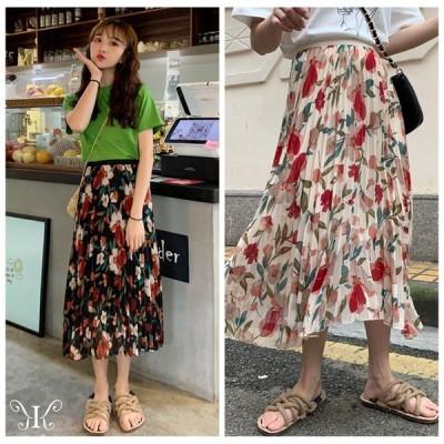 スカート レディース 春夏 ロング丈 大きいサイズ ドレス 綿 韓国ファッション 花柄