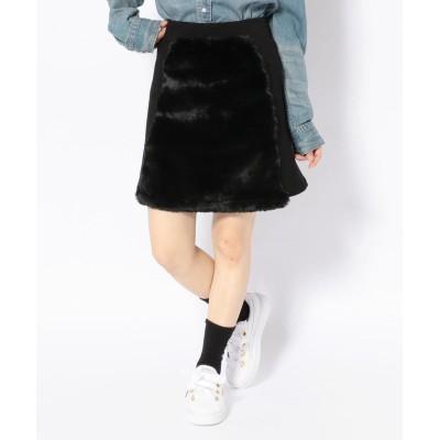 【エルエイチピー】 chica/チカ/ファー切り替えスカート レディース ブラック F LHP
