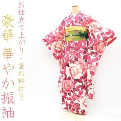 大セール中¥27000→24300振袖 本加工 ピンク ホワイト 金彩加工 牡丹 重ね衿 付き 成人式 結婚式 にも 中古 仕立て上がり M〜Lサイズ sb3312