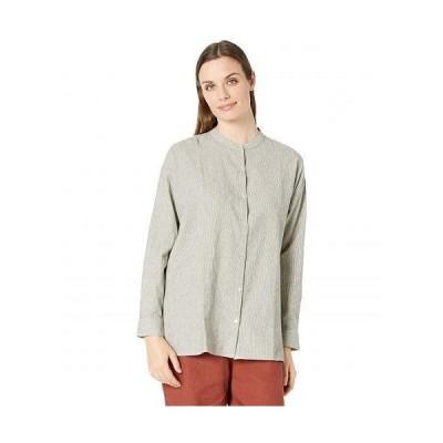 Eileen Fisher アイリーンフィッシャー レディース 女性用 ファッション ボタンシャツ Organic Cotton Linen Ticking Stripe Mandarin Collar Shirt - Black/..