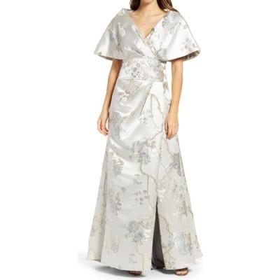 タダシショージ TADASHI SHOJI レディース パーティードレス ワンピース・ドレス Floral Embroidery Bell Sleeve Satin A-Line Gown Ice