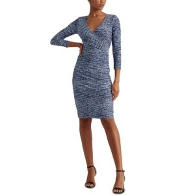 ラルフローレン レディース ワンピース トップス Petite Print Jersey Surplice Dress Blue Multi