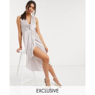 フラウンスロンドン Flounce London レディース ワンピース ノースリーブ ミドル丈 sleeveless satin midi dress with twist and drape in champagne
