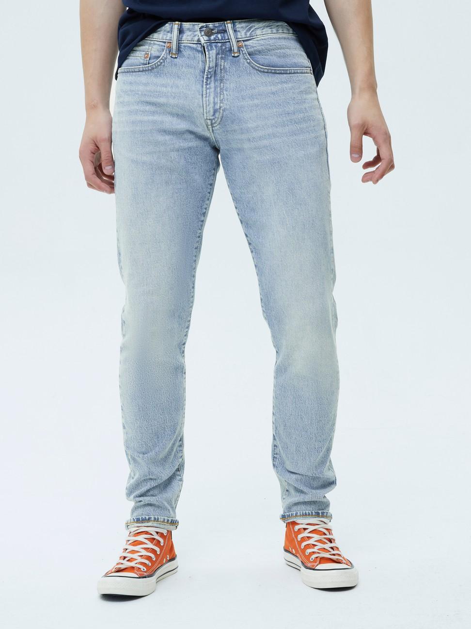 男裝 淺色水洗五口袋牛仔褲