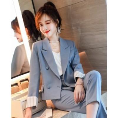 韓国 ファッション レディース セットアップ パンツスーツ テーラードジャケット テーラードパンツ ブルー アプリコット ネイビー ゆった