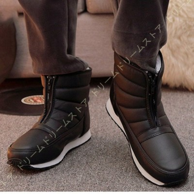 スノーブーツ スキーブーツ ショートブーツ ブラック シューズ レディース ウィンターブーツ ユニセックス シンプル 防水 防滑 防寒 長靴 雪靴 ファー 雪用