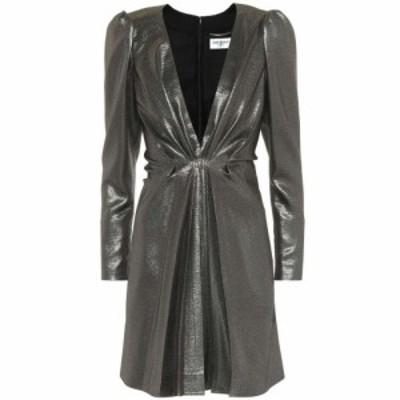 イヴ サンローラン Saint Laurent レディース パーティードレス ワンピース・ドレス Silk-blend metallic minidress black gold