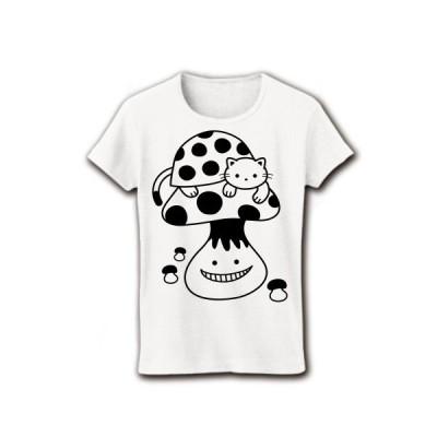 てんとう虫猫とキノコ リブクルーネックTシャツ(ホワイト)