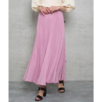ジュエローブ Jewelobe シフォンプリーツロングスカート (ピンク)