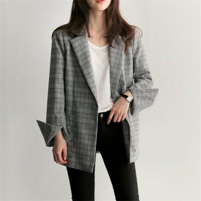テーラードジャケット ウエストリボン チェック柄 襟付き 大人かわいい 個性的 上品 体型カバー