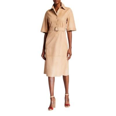 アクリス レディース ワンピース トップス Suede Kimono-Sleeve Belted Shirt Dress