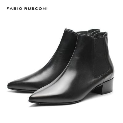 FABIORUSCONI ファビオルスコーニ F-5559 レディース サイドゴアブーツ ポインテッドトゥー レザー 黒 ブラック BLACK 20AW イタリア製 シューズ 秋冬