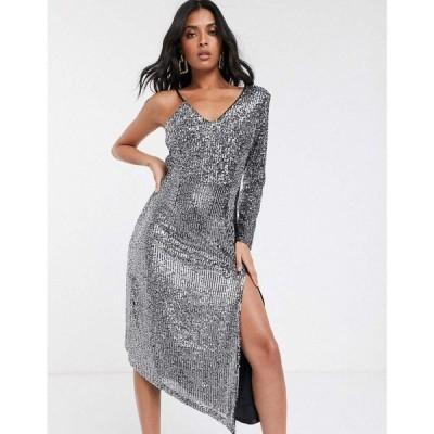 ユニーク21 UNIQUE21 レディース ワンピース ワンピース・ドレス Unique21 asymmetric premium sequin one shoulder dress シルバー/ブラック