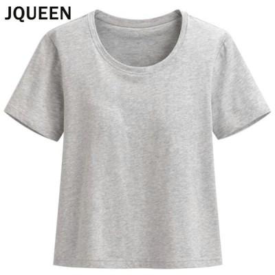 JQUEEN カップ付きTシャツ ショート カットソー トップス 半袖 ラウンドネック シンプル 無地 レディース インナー ルームウェア ヨガ
