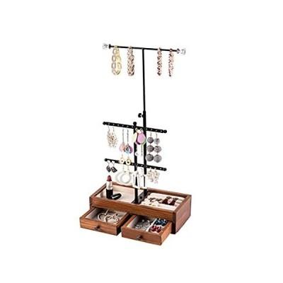 3段メタル&木製ジュエリースタンドオーガナイザー ベーシック収納ボックス - ネックレス ブレスレット イヤリング リング 炭化ブラック好評発売中