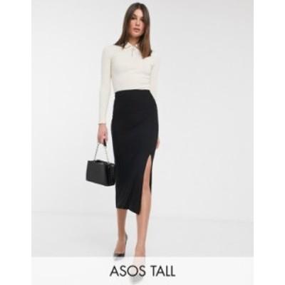 エイソス レディース スカート ボトムス ASOS DESIGN Tall bias cut jersey midi slip skirt with split Black