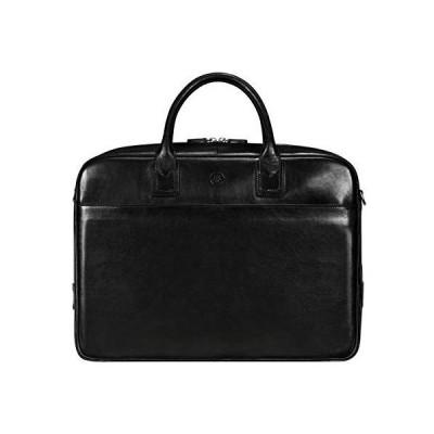 "Maxwell Scott Men's Fine Quality Italian Leather 17"" Laptop Computer Bag - Calvino Large Black"