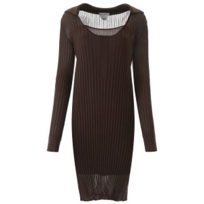 BOTTEGA VENETA/ボッテガ ヴェネタ Brown Bottega veneta ribbed silk knit dress レディース 春夏2020 616936 VKJM0 ik