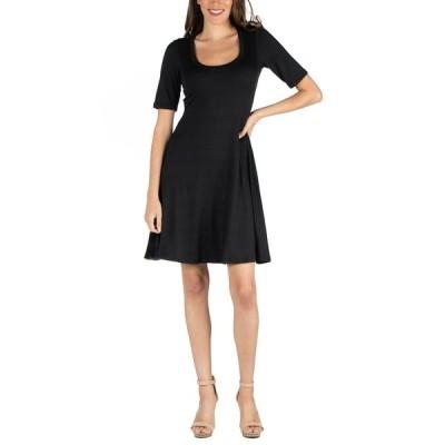 24セブンコンフォート ワンピース トップス レディース A-Line Knee Length Dress with Elbow Length Sleeves Black