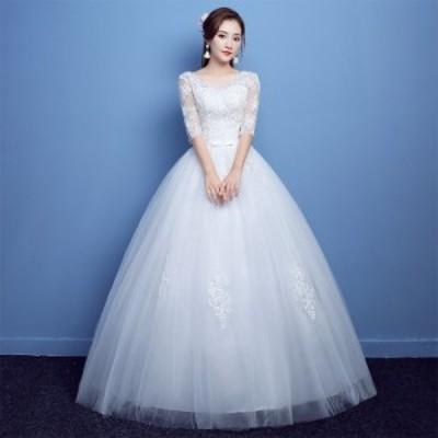 ウェディングドレス ドレス 二次会 花嫁 Aラインドレスホワイト 白 編み上げ ベール グロー