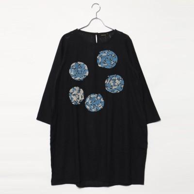 カンカン KANKAN ぐるぐるリボン刺繍ドレス (ブラック)