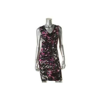 ドレス ワンピース Aqua アクア 1804 レディース パープル プリント Vネック ノースリーブ Party ドレス M BHFO