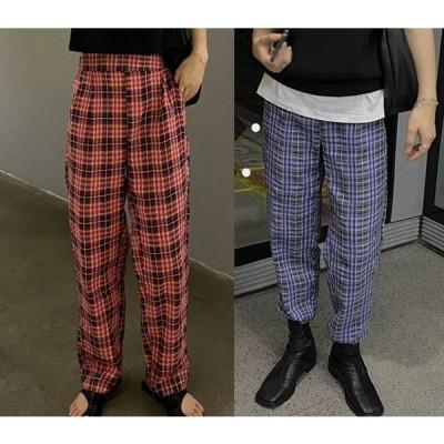 全2色 パンツ 切り替え バイカラー 薄手 体型カバー 着痩せ チェック柄 シンプル カジュアル