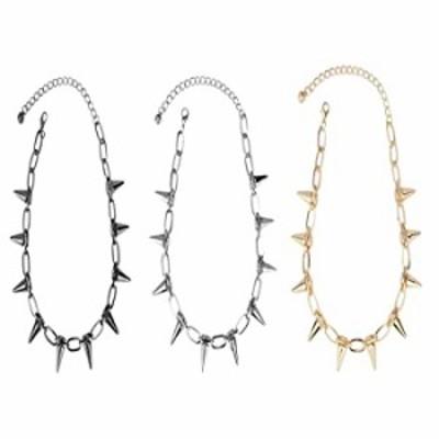 3Pcs Gothic Rivet Spike Paperclip Link Chain Choker Necklace Set Punk Rock Hip Hop Adjustable Streetwear Collar Necklace for Wom